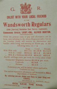 Plakat: Enlist with your local Wandsworth Regulars